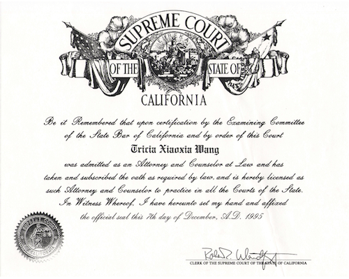 Supreme Court of the State of California Diploma